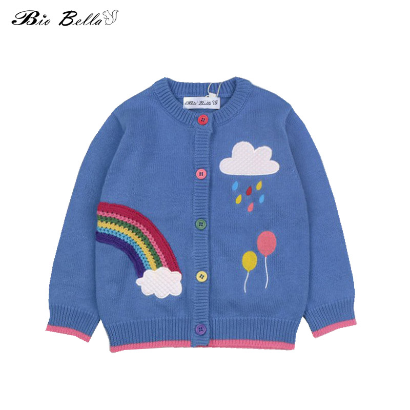 7f93cb633 new 2018 children sweater spring baby girls rainbow clouds sweater ...