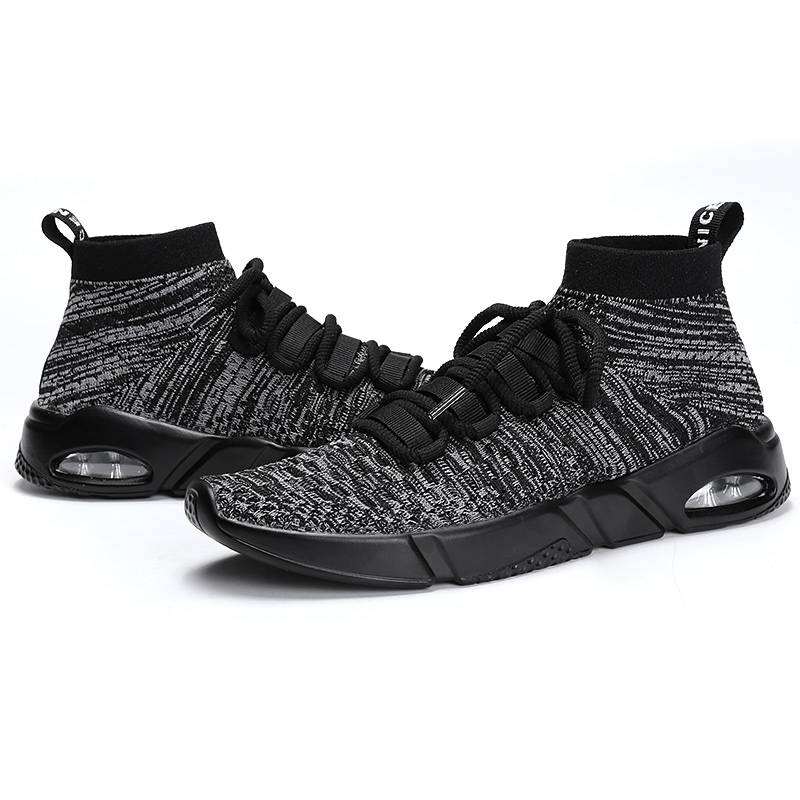 SENTA Summer Breathable Mesh Men Shoes Slip On Trainers Black/Gray Men cushion Sports shoes Outdoor walking shoes big size45 46