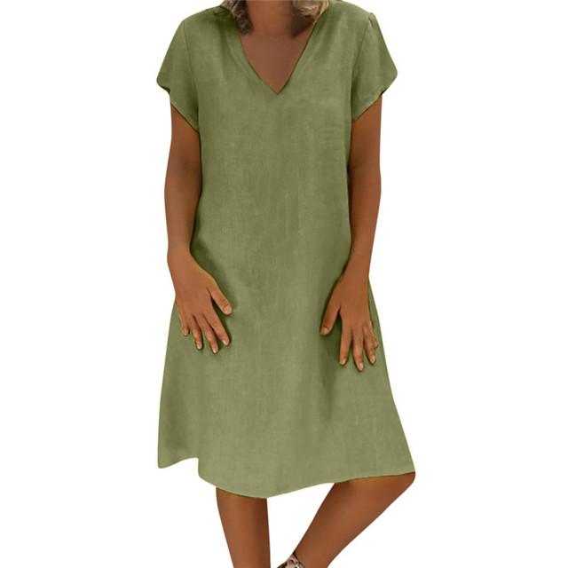 Summer Style Cotton Casual Plus Size Ladies T-Shirt V-Neck Dress