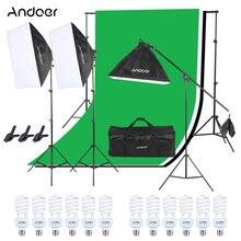 Andoer Photo Studio Lighting Kit Backdrop Stand +Non-woven Backdrop + Cantilever Stick + Light Stand + 4in1 Bulb Socke + Softbox