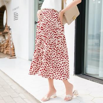 671f282177 9012   verano coreano de maternidad de moda faldas cintura elástica faldas  ropa para mujeres embarazadas elegante de gasa estampada embarazo