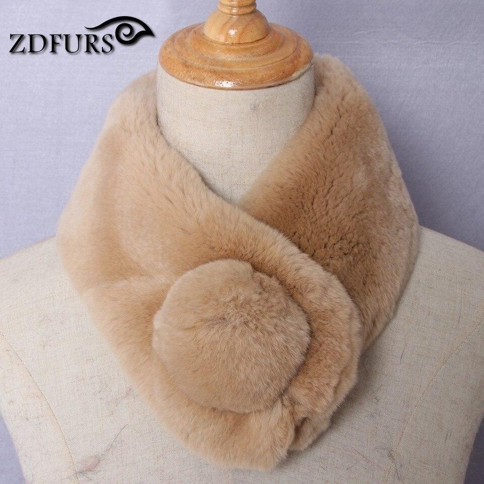 ZDFURS *Women's Real Fur Scarf High Quality Luxury Big Rex Rabbit Fur Scarves Thick Warm Winter Fashion Brand New Arrival