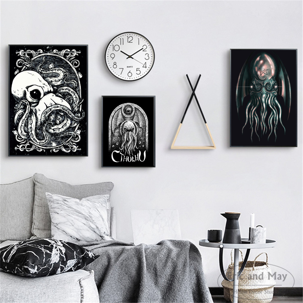 Lovecraft Octopus Cthulhu Art Posters And Prints Wall Art Canvas Painting For Living Room Decoration Home Decor Unframed Quadros broad paracord