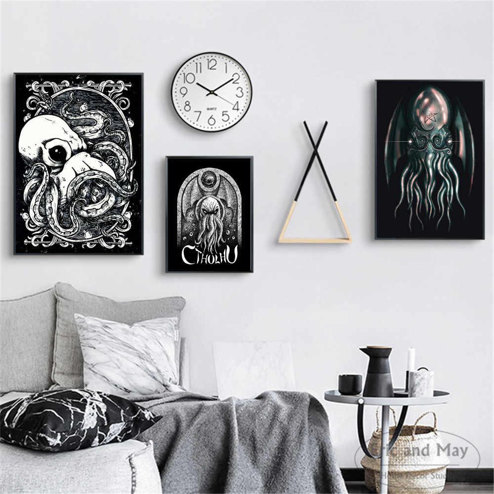 Lovecraft Gurita Cthulhu Seni Poster dan Cetakan Dinding Art Lukisan untuk Dekorasi Ruang Tamu Dekorasi Rumah Tidk Quadros