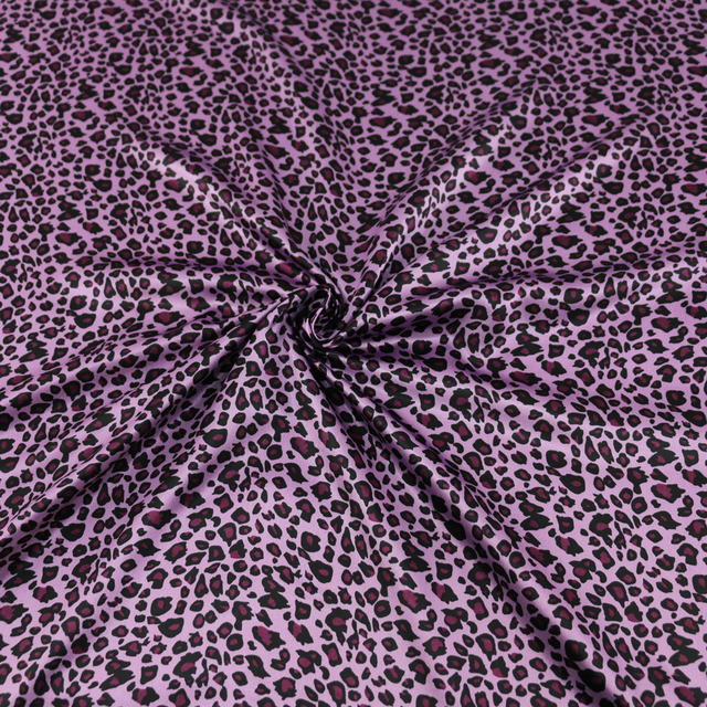 Purple Wild Leopard Print African Fabric Satin Charmeuse Tecido Clothes