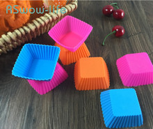 10Pcs DIY Baking Tools High Temperature Silicone Cake Mold Square Muffin Cup 7cm Mould For baking accessories