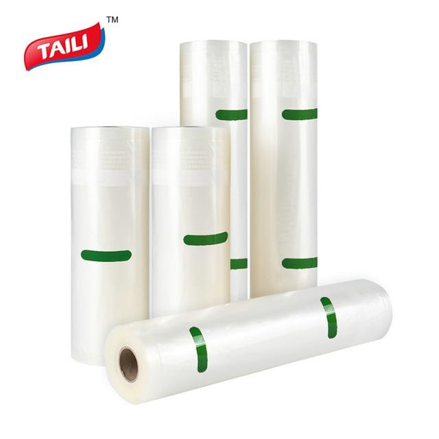 TAILI 5 Rollen Küche Lebensmittel Vakuum Tasche Lagerung Taschen Für Lebensmittel Vakuum Verpackung Rollen Vakuum Wärme Dichtung Tasche 20*610cm/28*490cm