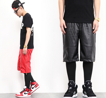 Hot,2014 men`s fashion leather shorts designer for pu and gold side zipper red casual jogger 2 colors shorts