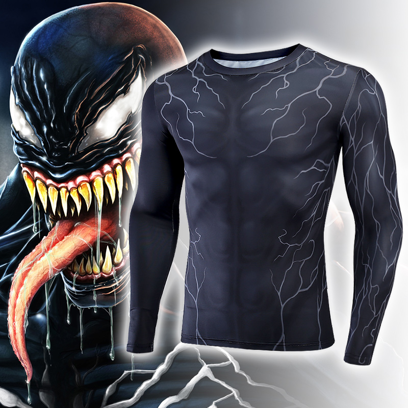 Venom T-shirt Cosplay Venom Deadly Guardian Edward Brock Costume 3D Men Superhero Sport Tight Tees Tops Gyms Clothing