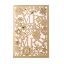 50pcs MR & MRS Right Gold Wedding Invitation cards Laser Cut Hollow Lace card Engagement Card invites