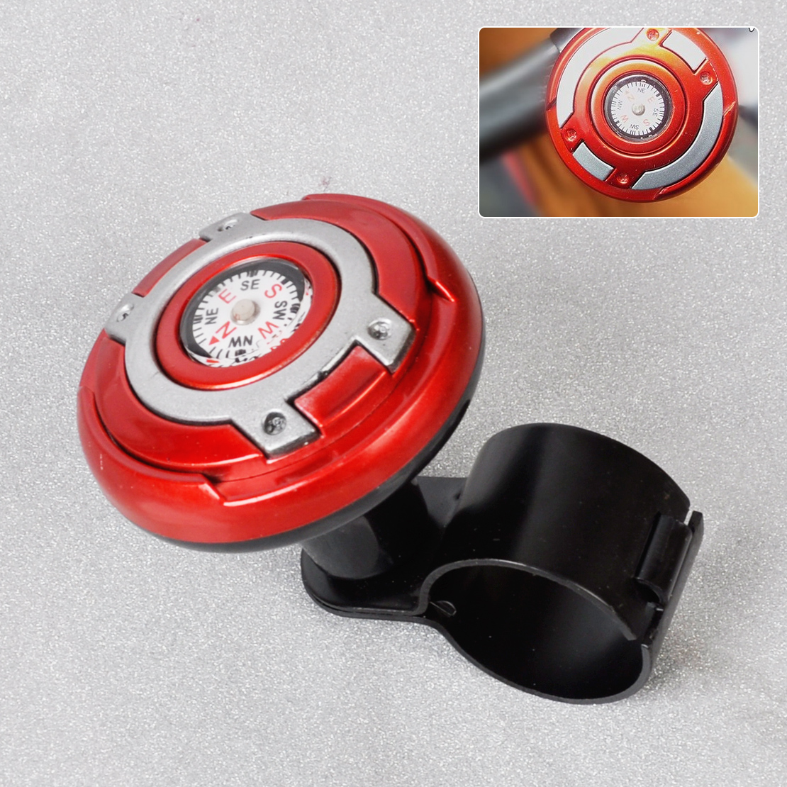 DWCX Universal Car Wheel Steering Power Handle Grip Knob Power Ball & Navigation Compass High Flexibility Navigator