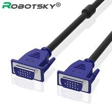 Robotsky VGA kablosu 1.5m 4.6ft 3m 10ft VGA erkek VGA erkek kabloları 1080P VGA/SVGA uzatma cabo monitör projektör için