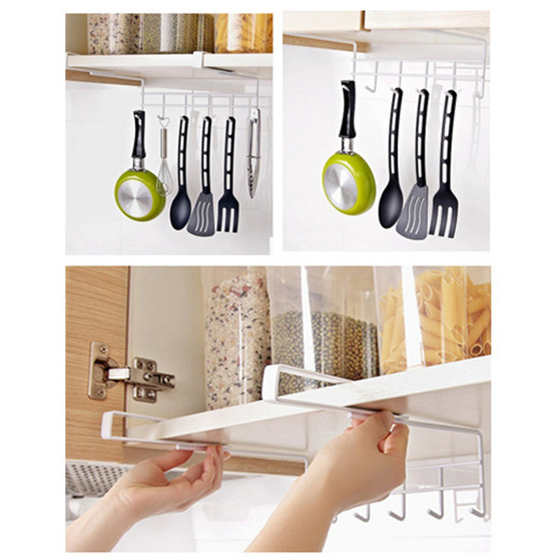 1pc Creative Hanging Hooks Holder Kitchen Cupboard Cabinet Utensil Pot Pan  Storage Rack Orgabizer Hanger Hook