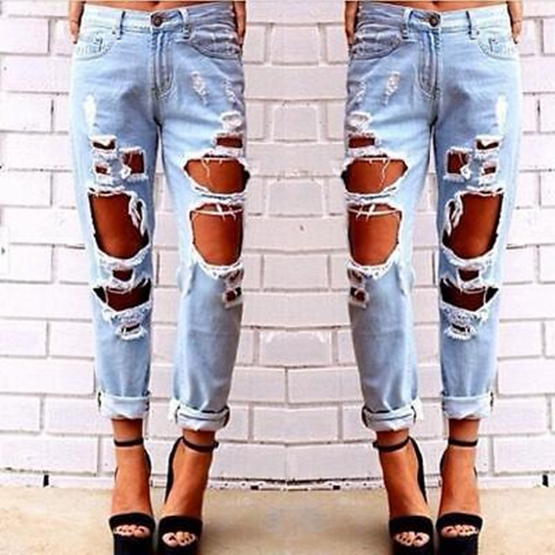 New Ripped Jeans Women Denim Pants Holes High Waist Casual Trousers Pencil Pants Destroyed Torn Boyfriend Jeans for Women skinny jeans women denim pants holes destroyed knee pencil pants casual trousers white stretch ripped jeans top007 w