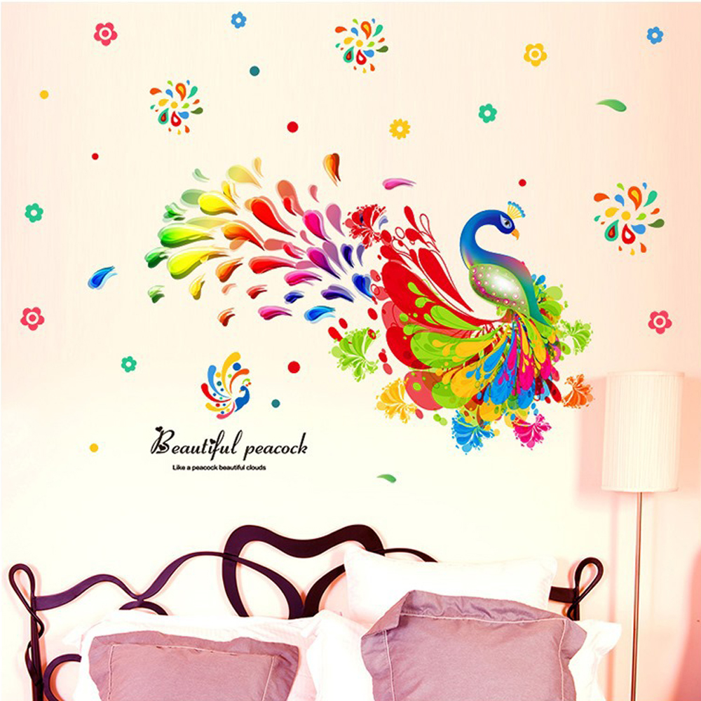 Colorful peacock wall sticker for kids room living room for Diy colorful wall art