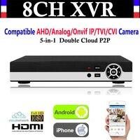 Comprar Nuevo 8CH canal 1080P P2P vídeo CCTV NVR AHD TVI CVI DVR + 1080N 5-en-1 vigilancia AHD/analógica/IP Onvif/TVI/CVI Cámara