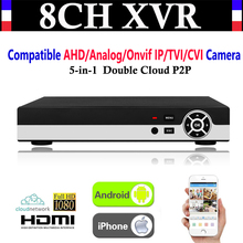 NEW 8CH Channel 1080P P2P CCTV Video Recorder NVR AHD TVI CVI DVR+1080N 5-in-1 Surveillance AHD/Analog/Onvif IP/TVI/CVI Camera