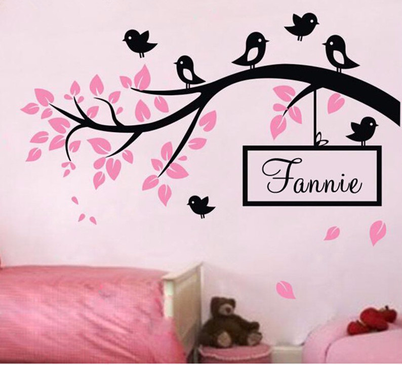 DIY Birds On Tree Branch Vinyl Wall Decal Wall Art Decorative Stickers  Custom Baby Name Wall Sticker Home Decor Art Decal D 80 In Wall Stickers  From Home ... Part 50