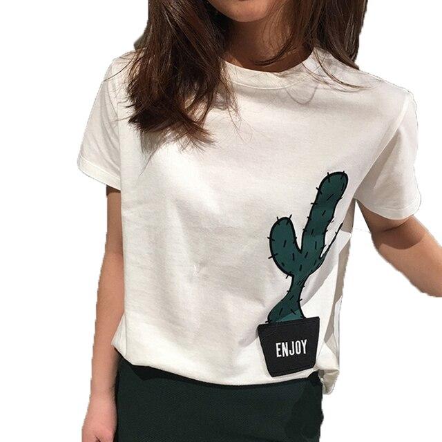 Casual camiseta Mujer Cactus Imprimir Bordado Blanco Verano de Las Mujeres Tops y Tees Suelta de Manga Corta cuello de O de La Calle Camiseta de Las Mujeres camisa