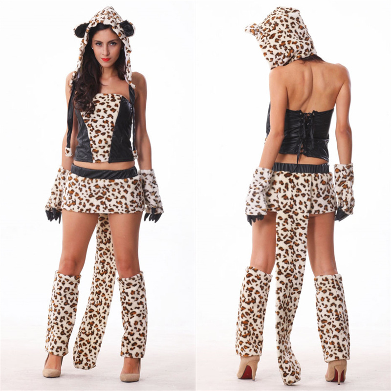 Woman Halloween Cosplay Costumes Sexy Animal Leopard Tiger Cosplay Costumes Leopard Top Skirt Hat 5Pcs Set Carnival Deguisement