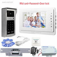 Sunflowervdp Home Intercom Rfid Code Unlock Video Doorbell Video Door Monitor Color 7 Intercoms For A