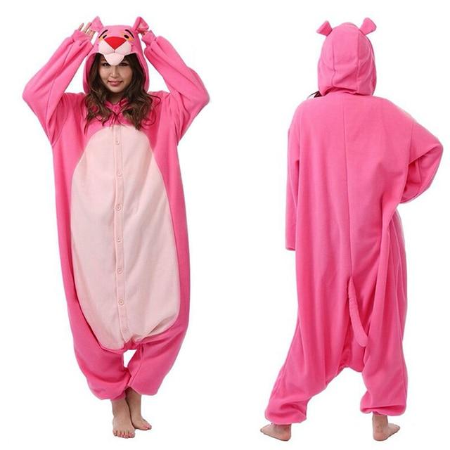 Luxury Polar fleece Pink Panther Pajamas Animal Winter Warm Women Leopard  Onesies Adult Party Cosplay Costume 3D Animal Hooded b75fb8472