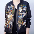 Autumn Women Faux Leather Jacket Flower Birds Embroidery Coats Stand Collar Zipper Long Sleeve Outerwear Plus Size JFN057