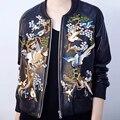 Outono Mulheres Jaqueta De Couro Falso Flor Aves Bordado Coats Gola Zipper Outerwear Manga Longa Plus Size JFN057