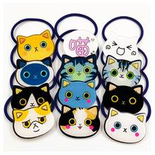 12 Colors Japanese Style Kids Girls Cute Meow Cat Rubber Band Hair Rope Colorful Kawaii Emoji Acrylic Students Ponytail Holder(China)