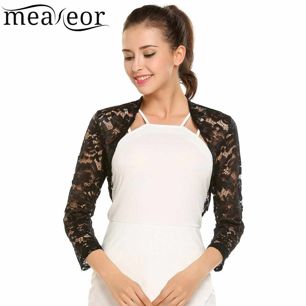 8e353ebb5dc Meaneor Women Lace Floral Autumn Cardigans Front Open Bolero Feminine  Cardigan Tops See-through Casual 3/4 Sleeve Slim Tops