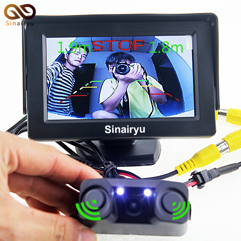 New Sound Alarm CCD Car Reverse Backup LED Rear View Parking Camera Sensor PAL And NTSC