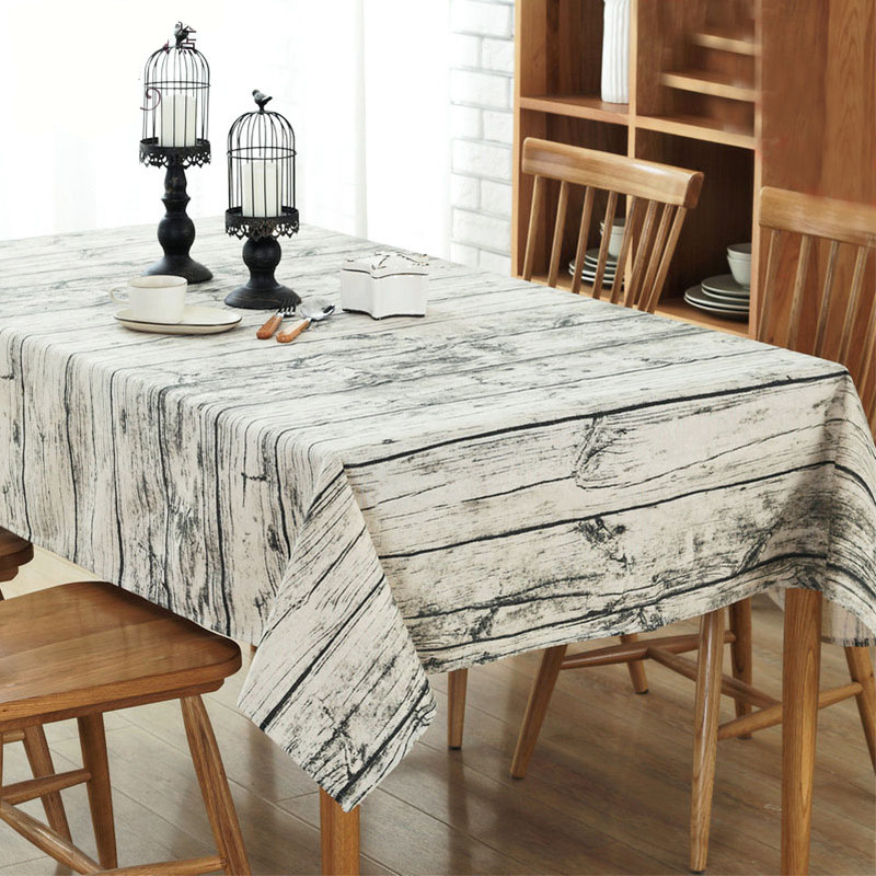 DOSOMA European Style Wood Grain Tablecloth Linen Cotton Table Cover Rectangle Round Tea Table Cloth For Dining Home Decor
