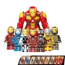 Marvel Avengers 4 Infinity War End Game Iron Man Thanos Blocks Toys Space Figures Super Heroes MK85 MK50 avengers infinity war pvc figures toys iron man mk50 thanos hulkbuster spiderman falcon hulk set
