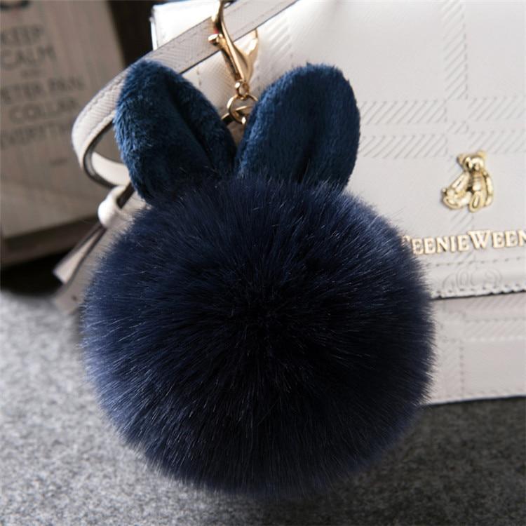 2017 Fur Pom Pom Keychain Fake Rabbit fur ball key chain porte clef pompom de fourrure pompon Bag Charms bunny keychain Keyring 37