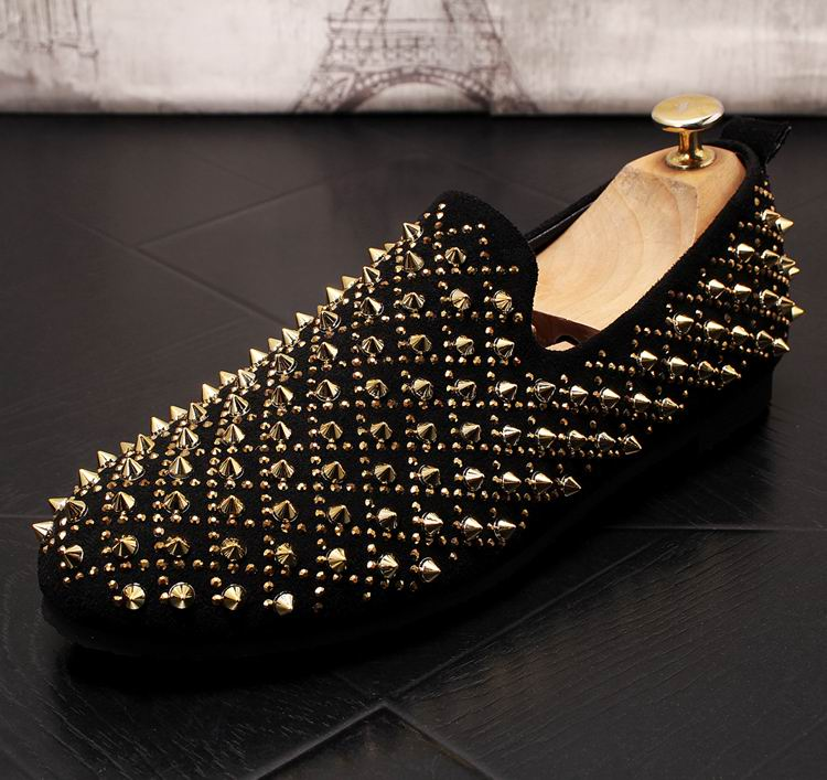 ERRFC New Arrival Men Gold Causal Comfort Loafer Shoes Fashion Rivets Man Boat Shoes British Trending Breathable Slip On Flats 9