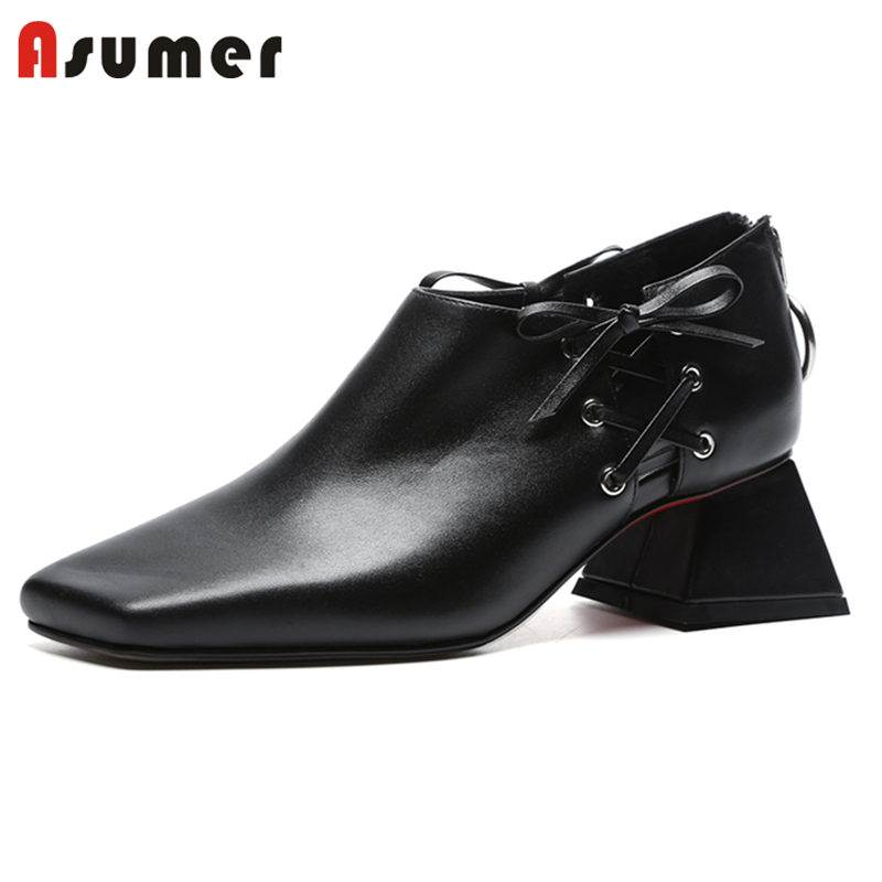 ASUMER 2018 HOT fashion square toe cross tied shoes genuine leather pumps women zipper thick high heels summer shoes ladies shoe 2018 fashion high heels women brand pumps wedges genuine leather square toe cross tied platform increased straw rome shoes