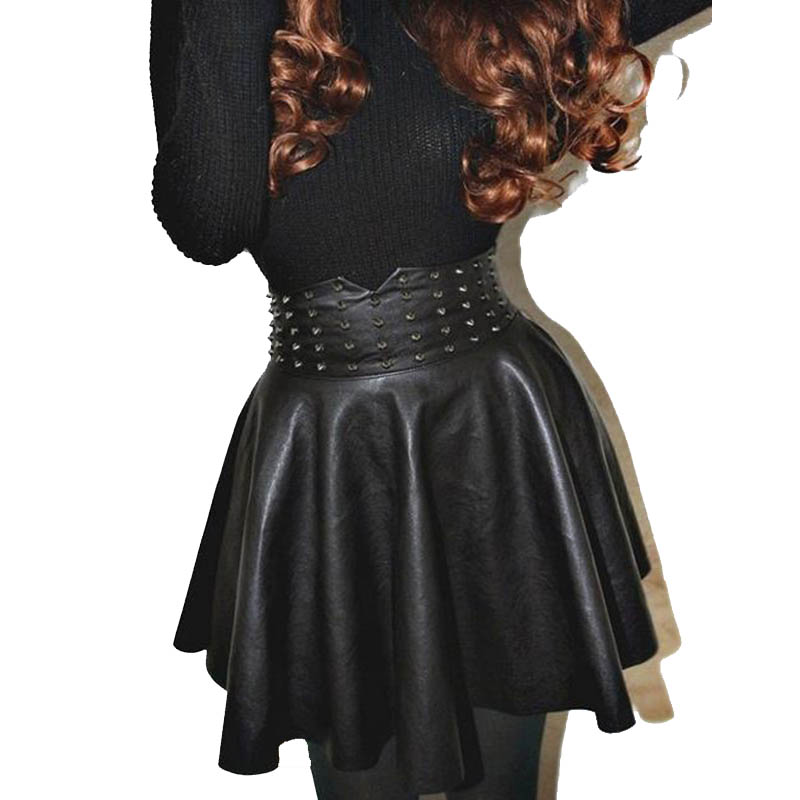 2017 Faux Leather Mini Skirt Good Quality Women Fashion saia High Waist Zipper In Back Steampunk Rock Sexy Short Skirt