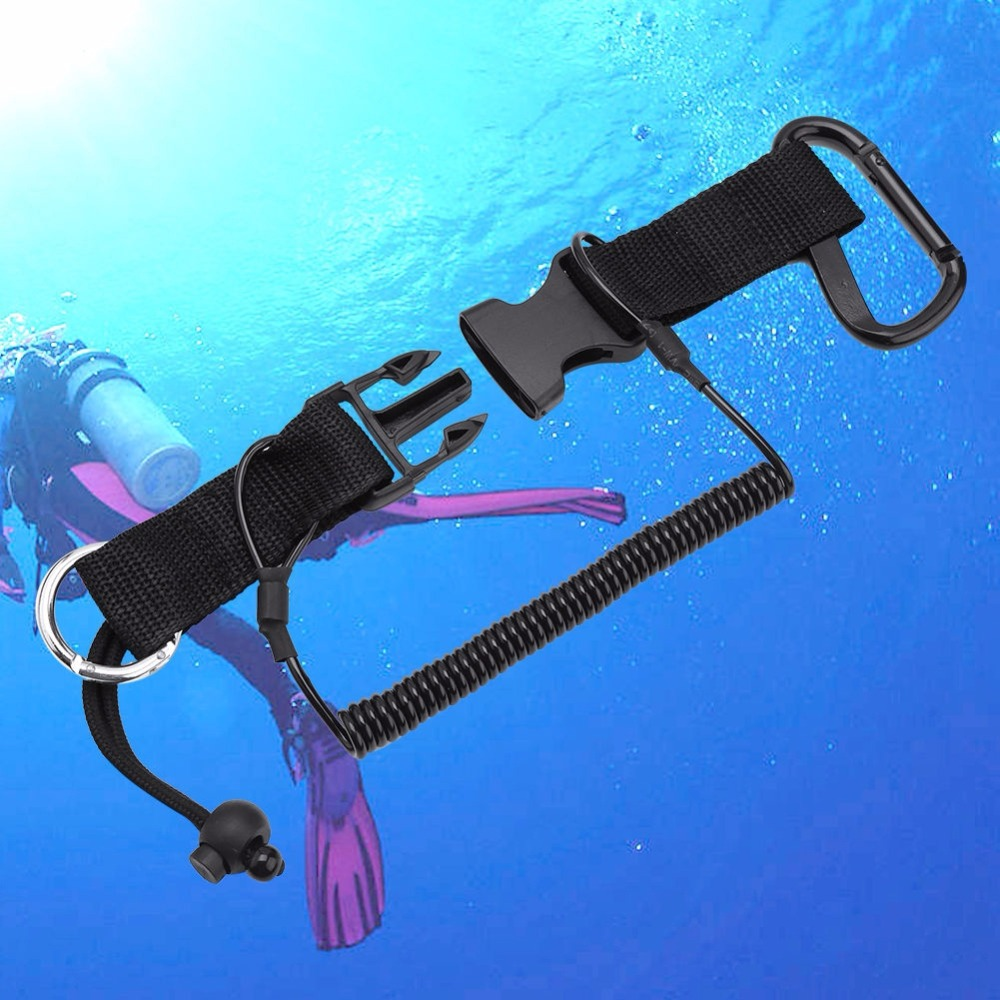 1pcs Underwater Diving Camera Safety Anti Lost Durable Scuba Diving Lanyard Coil Rope Nylon Buckle Clip Climbing Carabiner Hook