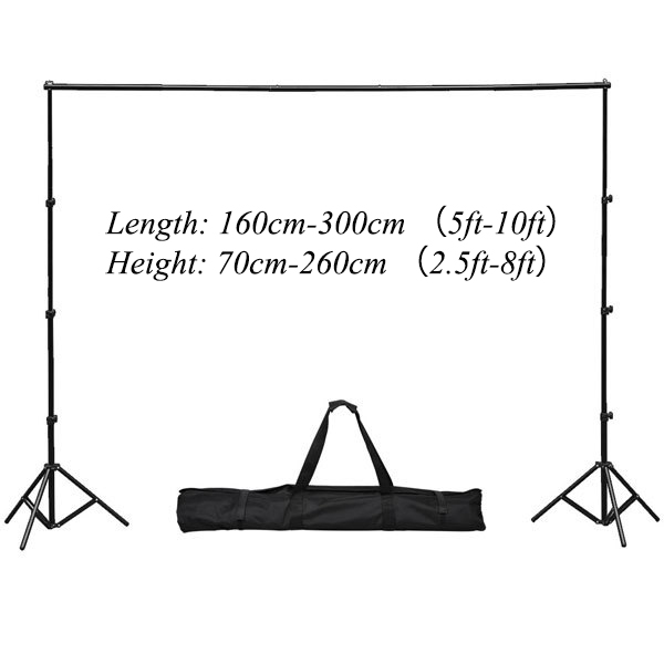 Allenjoy 3*2.6m/10*8ft Professional Backdrops stand Background Support System with 2 light stands + 1 cross bar + big bag lightdow 2x3m 6 6ftx9 8ft adjustable backdrop stand crossbar kit set photography background support system for muslins backdrops