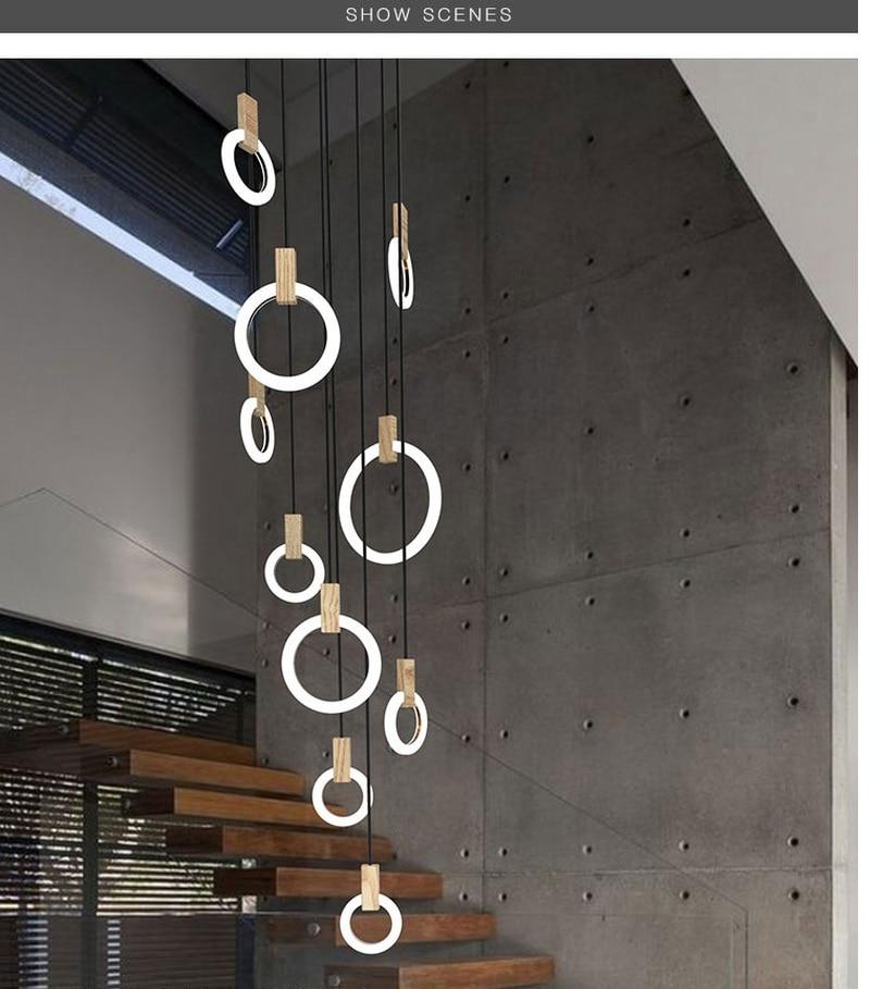купить IKVVT Modern LED chandelier nordic living room pendant lamp bedroom fixtures stair novelty illumination loft hanging lights по цене 3590.27 рублей