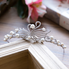 Zircon Swan Tiara Bride Crown Headband Wedding Hair Accessories Diadem Jewelry Tiaras And Crowns Bijoux Cheveux Coroa WIGO0854