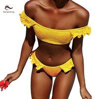 Tengweng 2018 Nueva Sexy Cuello En V Profundo Bikini Mujeres Tanga gran tamaño del traje de Baño de La Colmena Del Hombro Del traje de Baño Del Vendaje de traje de Baño barato