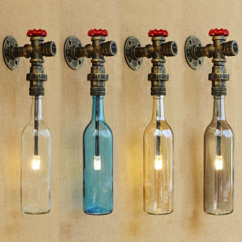 Industrial wall lamp Glass shade iron rust Bathroom wall light with G4 light bedroom bedside light foyer study decoration Sconce
