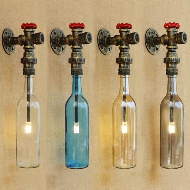 Industrielle mur lampe En Verre ombre de fer rouille Salle De Bains