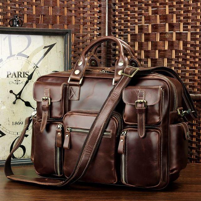 J.M.D High Quality Cow Leather Briefcase Handbag Fits Laptop Classic Laptop Bag Fashional Vintage Office Bag For Men 7028X