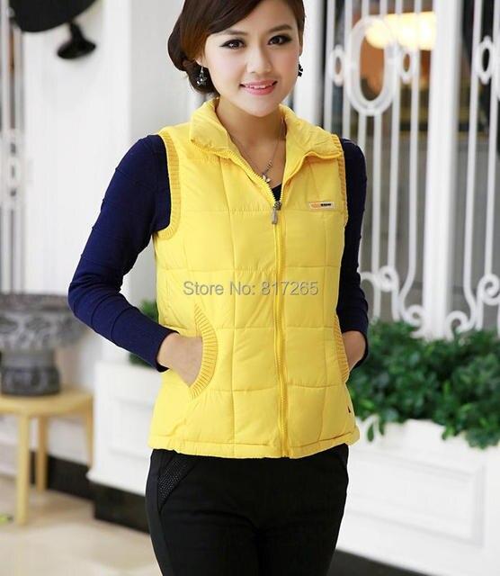 Горячий Новый случайный тонкий рукавов пуховик женская одежда хлопка мягкой Жилет, мода свитер 9 цвета куртка Большой размер L-XXXL