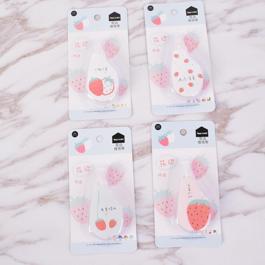 Sweet Fruit Strawberry Lace Decoration Correction Tape School Office Supply Student Stationery