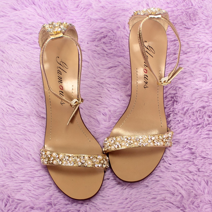 Women Ankle Strap Beading Sandals elegant sexy gold pearl rhinestone high  High sandals Wedding Shoes tenis feminino-in Women s Pumps from Shoes on ...