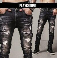 Heren Skinny Jeans Parijs Runway Verontruste Slanke Elastische Jeans Denim biker ripped jeans hip hop broek zuur gewassen zwarte jeans mannen