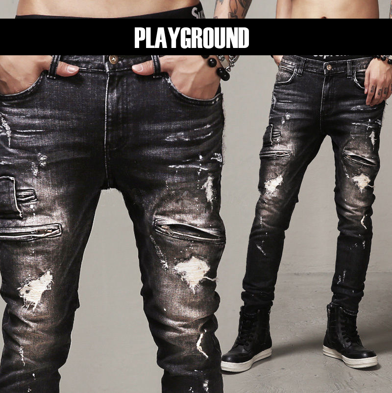 Mens Skinny Jeans Paris Runway Distressed Slim Elastic Jeans Denim Biker Ripped Jeans Hip Hop Pants Acid Washed Black Jeans Men